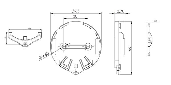 plan mécanique support PUCK HOLDER STICKER ELA innovation